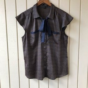 Ann Taylor Printed Button Up Tie Neck Blouse